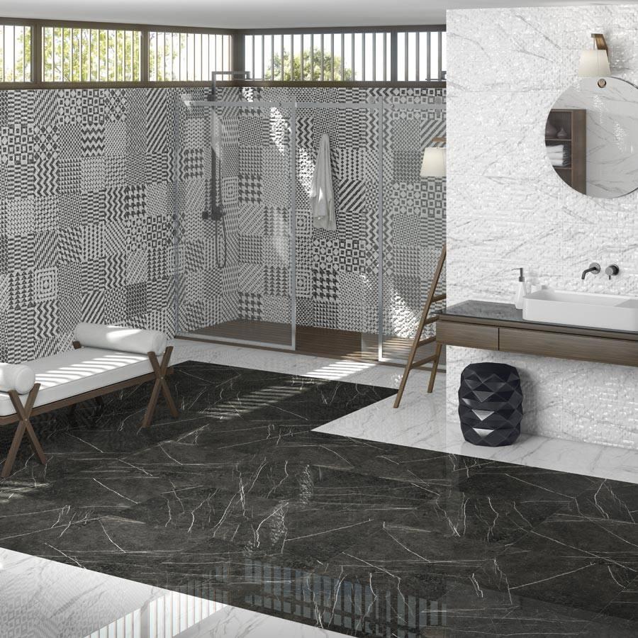 Carrelage Salle De Bain Noir Brillant carrelage grand format effet marbre design noir ou blanc