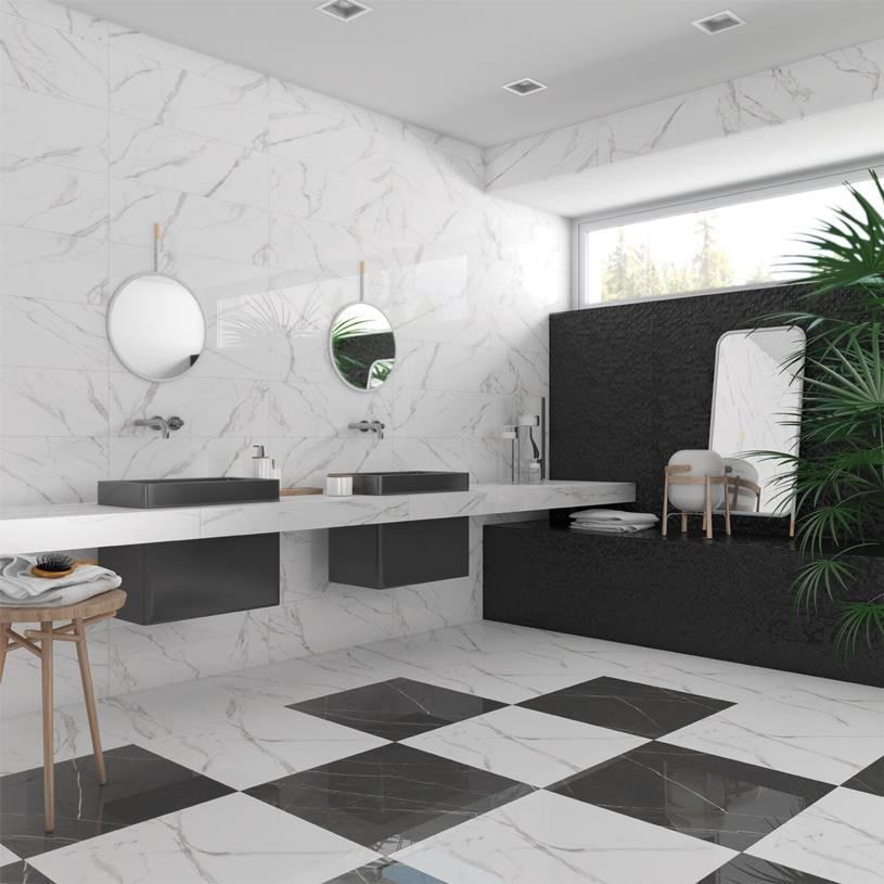 carrelage grand format effet marbre design noir ou blanc. Black Bedroom Furniture Sets. Home Design Ideas