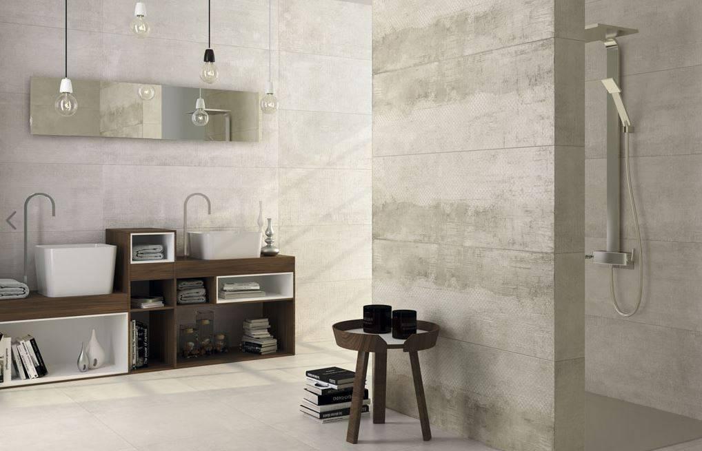Carrelage mural gris sable beton au style indistriel 40 x - Recouvrir carrelage mural salle de bain ...