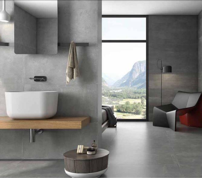 Carrelage grand format beton style industriel sol et mur for Carrelage style industriel