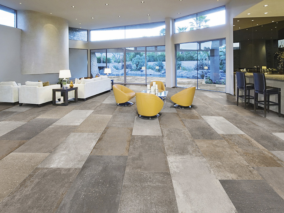 Carrelage aspect pierre vieilli 45x90 gr s ceram int rieur for Carrelage imitation travertin interieur