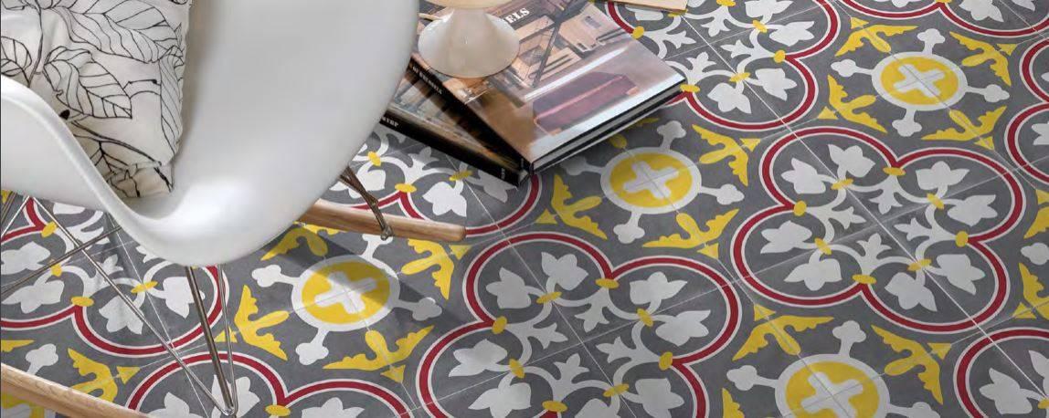 carrelage effet carreaux de ciment 60 x 60 cm jaune couleur jacou c53 vente de carrelage. Black Bedroom Furniture Sets. Home Design Ideas