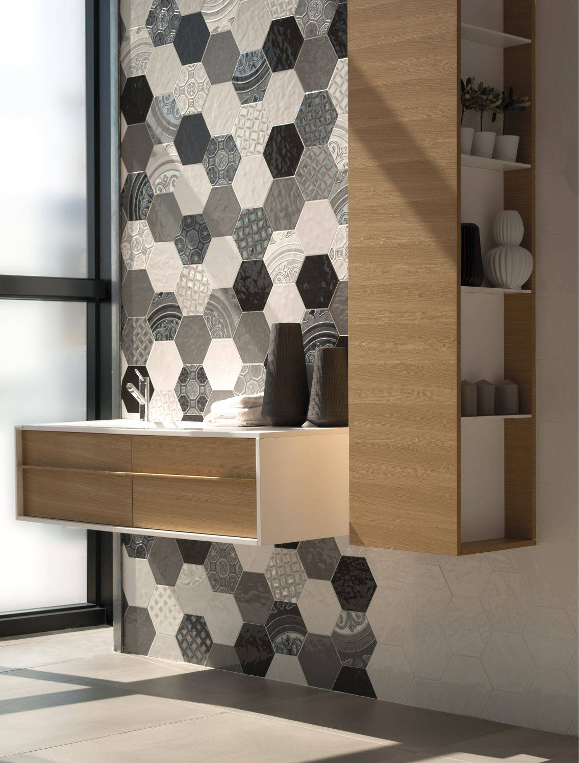 carrelage hexagonal mur couleur montpellier b16 vente de carrelage imitation ciment et bois. Black Bedroom Furniture Sets. Home Design Ideas