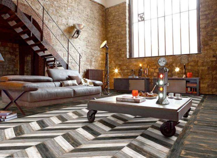 carrelage mix imitation bois en chevrons original. Black Bedroom Furniture Sets. Home Design Ideas
