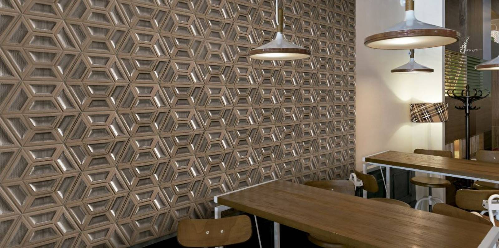 Carrelage mural hexagonal 3d effet ciment ou metallise for Carrelage mural 3d