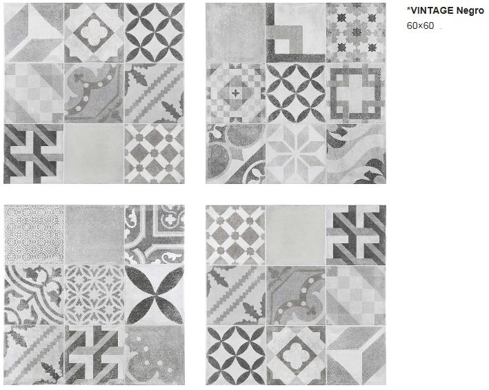 vintage carrelage imitation carreaux de ciment 60 x 60 cm. Black Bedroom Furniture Sets. Home Design Ideas