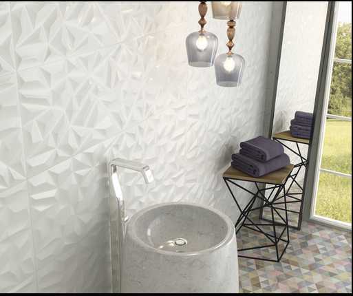 Faiences murales blanc 3d diamant vagues jacou a13 vente for Carrelage 3d salle de bain